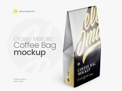Glossy Metallic Bag Mockup - Halfside View (High-Angle Shot)