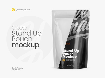 Glossy Stand Up Pouch with Zipper Mockup - Front View