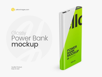 Glossy Power Bank Mockup - Halfside View technology recharge powerbank power bank portable mobile glossy energy electric digital device charger change color battery accumulator power bank mockup powerbank mockup mock up mock-up mockup