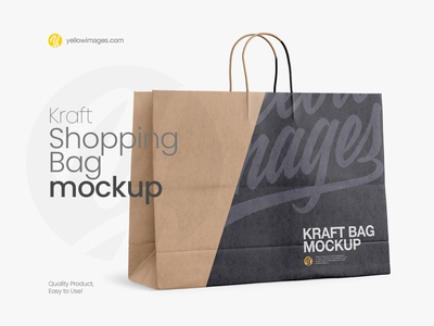🛍️ Kraft Shopping Bag with Rope Handle Mockup - Halfside 🛍️