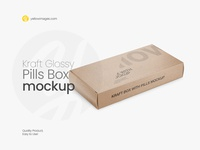 Kraft Glossy Pills Box Mockup - Halfside View