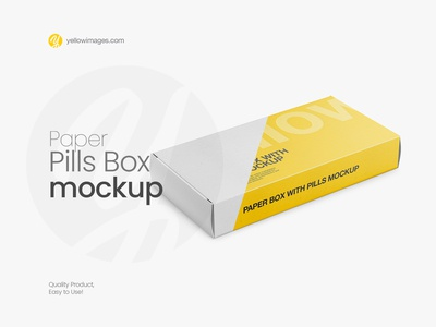 Paper Pills Box Mockup - Halfside View