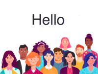 crowd illustration hello office design ui character vectorart procreate character design flat illustration flat 2d illustration