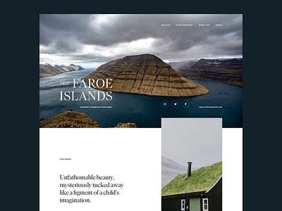 Visit Faroe Islands–Exploration eco adventure elegant tourism faroe islands landscape wildlife hospitality hiking outdoor minimal clean serif webdesign travel agency web website nature animal travel