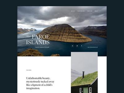 Visit Faroe Islands–Exploration adventure elegant tourism faroe islands landscape wildlife hospitality hiking outdoor minimal ui clean serif webdesign travel agency web website nature animal travel
