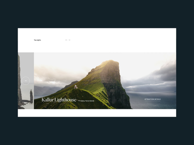 Visit Faroe Islands–Motion Study animation sea island faroe islands webdesign clean mountain carousel gallery minimal ui serif slider interface nature web website