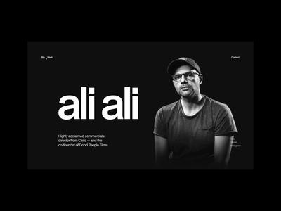Ali Ali—Transition ui ui animation sliders black and white typography exo ape director portfolio video film slider transition interface animation clean minimal web website webdesign