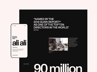 Ali Ali—Details magazine grid swiss biography portfolio video film director exo ape contrast grotesk sans-serif interface ui clean minimal web website webdesign