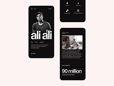 Ali Ali—Mobile awards exo ape film video director portfolio swiss mobile ui device mobile clean minimal web website webdesign
