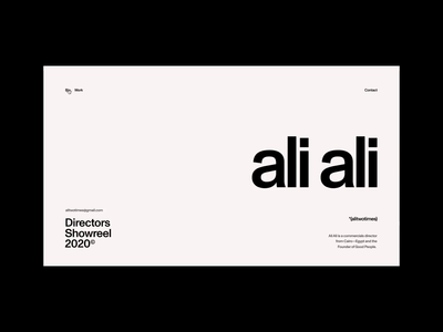 Ali Ali—Commercials Director swiss portfolio exo ape ui animation ui egypt cairo director film video commercials layout typography clean minimal web website webdesign