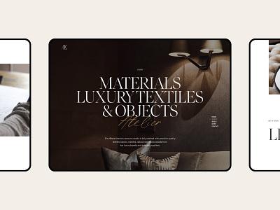 Æbele Interiors—Details furniture architecture studio design atelier interior script gold elegant luxury serif header hero ipad ui clean minimal webdesign web website