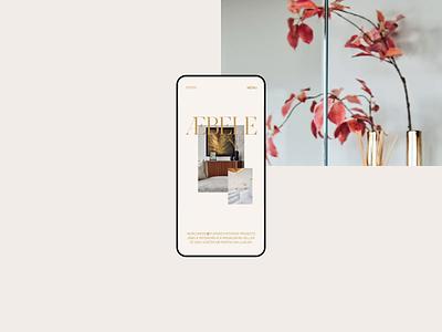 Æbele Interiors—Mobile menu furniture architecture design studio beige gold luxury elegant interior design swipe interior clean minimal webdesign web website 3d effect text menu mobile