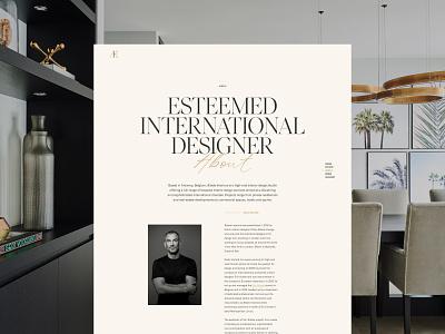 Æbele Interiors—About restaurant studio architecture furniture design beige serif luxury elegant gold portrait black and white desktop interior designer clean minimal webdesign web website