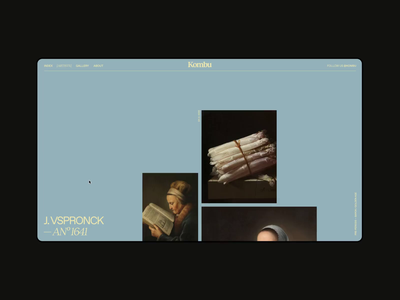 Layout (008) - Kombu® Artists Gallery painting artist hover zoom interaction culture magazine animation clean minimal painter detail page museum art grid slider gallery webdesign web website