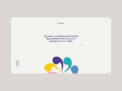 Glossarie website webdesign minimal serif colourful playful copywriting copywriter portfolio web clean ui colorful colour color vibrant typography typographic symbols animation