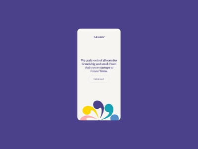 Glossarie—Mobile portfolio copywriter copywriting typographic typography symbols rainbow purple playful colourful colorful colour serif clean web minimal webdesign website ui mobile