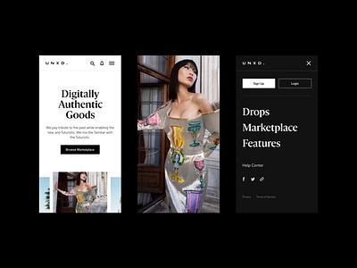 UNXD—Mobile blockchain defi fashion luxury clean webdesign website marketplace ecommerce cryptocurrency crypto interface ui minimal nft mobile