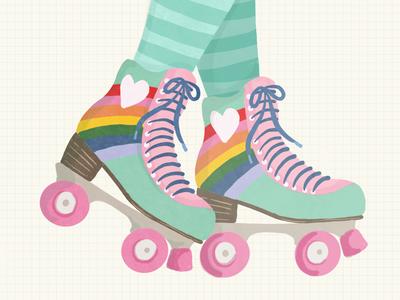 Skateland retro rainbow rink skying roller skate