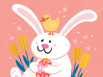 Happy Easter tulips chick bunny easter