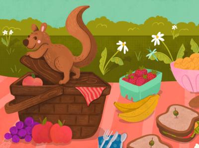 summer picnic fruit fun kids outdoors sweet cute squirrel flower food summer picnic