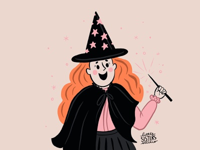 Witch vintage halloween spell stars cute witch