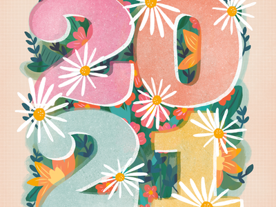 Happy New Year 2021 numbers new year flowers floral