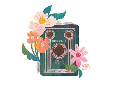 Brownie illustration distressed flowers floral brownie vintage camera