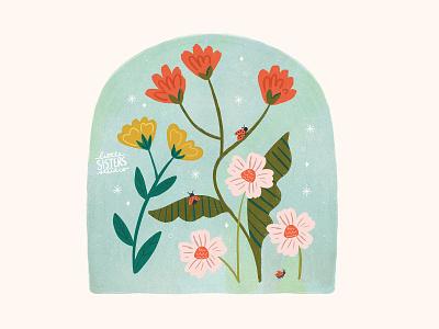 Lucky Little Ladybugs ladybug illustration floral cute