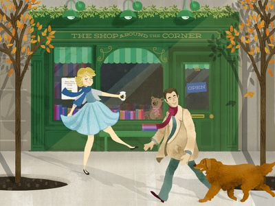 The Shop Around the Corner autumn new york bookstore shop movie youve got mail dog orange leaves illustration