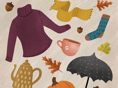 Autumn Essentials illustration rain season fall autumn sweater