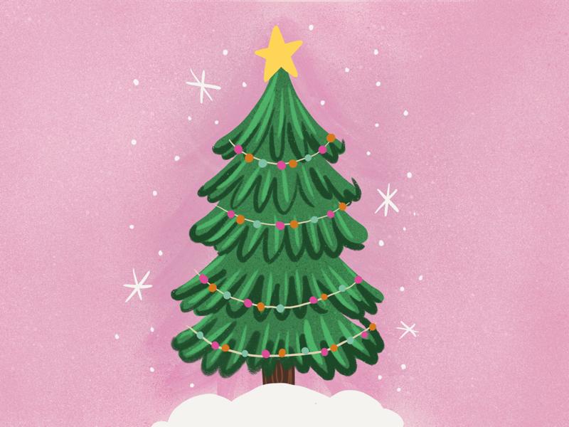 O Christmas Tree sparkles snow garland pom pom evergreen pine whimsical cute star holiday christmas tree