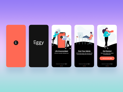 Eggy App Onboarding design simple mobile onboarding app