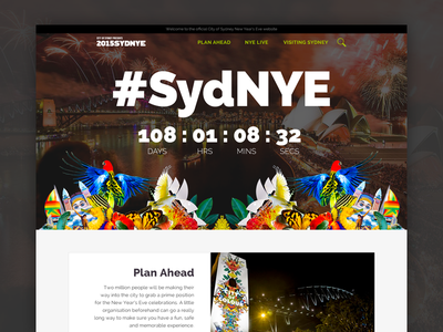 City of Sydney New Year's Eve Website nye countdown redesign web flat interface layout ux ui