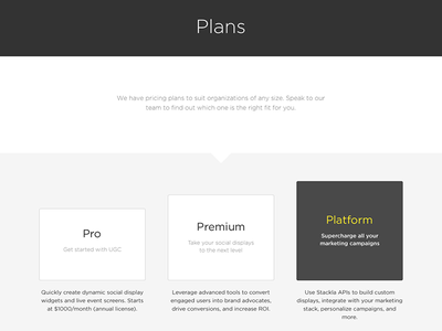 Stackla Pricing / Plans Table minimal flat modern ui stackla responsive tier product pricing plans pricing table pricing plans