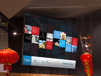 Sydney Airport Social Wall ugc stackla instagram pinterest twitter feed facebook concept hashtag flat wall social