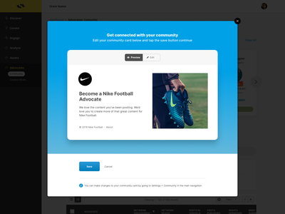 Stackla Community Card modal preview stackla wysiwyg form edit ui toggle card community blue