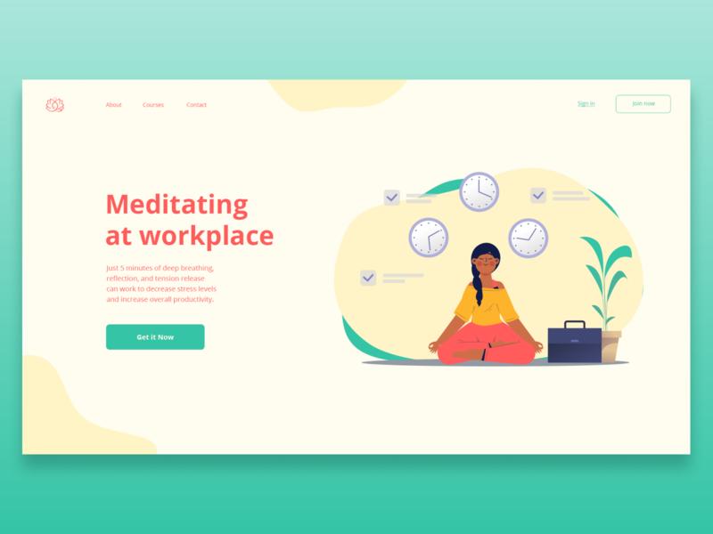 Meditating at workplace illustration color meditation concept website ui design