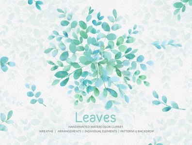Leaves Handpainted Watercolor Clipart