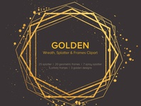 Free Golden Wreath, Splatter And Frames Cliparts