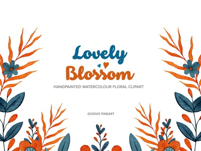 Lovely Blossom Floral Watercolour Clipart orange flower flower clipart digital flower graphics gogivo imagination line artwork creative lineart beautiful flower commercial use instantdownload lovely flower graphic flower illustration watercolor painting floral design png cliparts watercolor flowers watercolor clipart lovely blossom