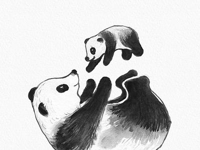 Cute Panda Watercolor Painting clipart love lovely mother panda creative gogivo instant download digital watercolor clipart cute panda parent love mother and child petlove pet wildlife panda clipart animal panda watercolor painting