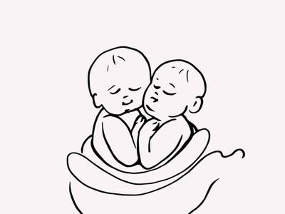 Newborn Twin Baby Hand Drawn Illustration Vector Clipart twins instant download gogivo line artwork eps png svg sketching drawing line art line drawing baby graphics baby illustration baby clipart illustration baby
