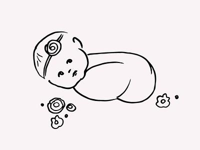Newborn Baby Hand Drawn Illustration Vector Clipart vector illustration hand drawing line drawing line art gogivo instant download cute baby cute newborn baby newborn baby artwork drawing svg