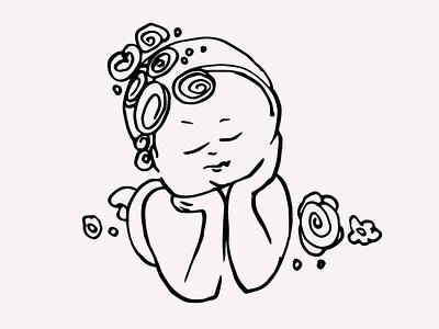 Newborn Baby Girl Hand Drawn Illustration Vector Clipart digitalart gogivo babies cute child artwork illustration sleeping hand drawn line drawing lineart vector instant download baby graphics baby illustration baby clipart baby girl baby newborn