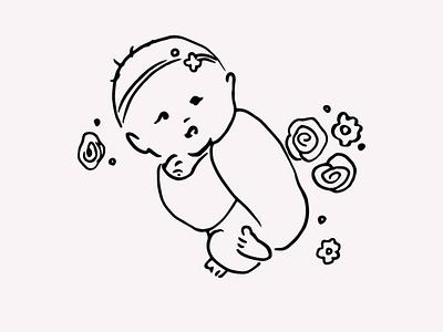 Newborn Baby Hand Drawn Illustration Vector Clipart digital art gogivo babies baby shower cute child artwork vector illustration sleeping hand drawn line drawing line art vector instant download baby graphics baby illustration baby clipart baby girl baby newborn