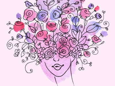 Floral Women Face Creative Watercolor Clipart PNG instantdownload gogivo watercolor painting illustration creative abstract art png floral portrait floral face floral women floral design flower clipart clipart girl face women face girl lady face women floral