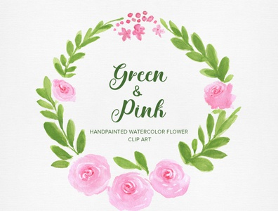 Green & Pink Watercolor Clip art