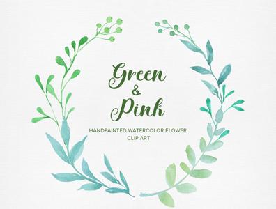 Green & Pink Watercolor Clip art