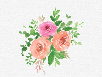Free Cute Rose Watercolor Clipart