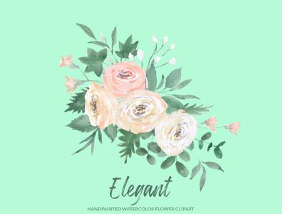 Elegant White Rose Floral Clipart